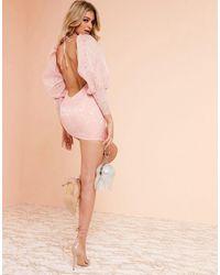 ASOS Luxe – Milchmädchen-Minikleid mit Jacquardmuster - Pink