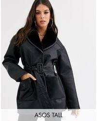 ASOS Asos Design Tall Luxe Leather Look Wrap Over Jacket - Black