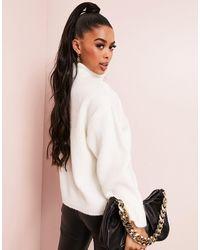 ASOS Fluffy Roll Neck Longline Sweater - White