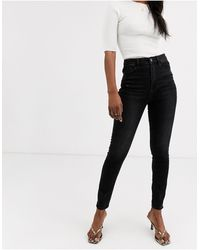 Stradivarius Super High Waist Skinny Jean - Black