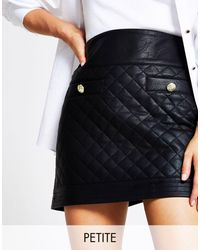 River Island Quilted Faux Leather Mini Skirt - Black