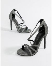 New Look - Metallic Strappy Heeled Sandals - Lyst