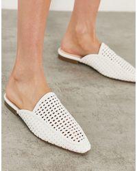 London Rebel Woven Mule Shoes - White