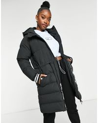 The Couture Club Contrast Signature Longline Padded Jacket - Black