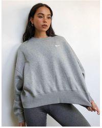 Nike Mini Swoosh Oversized Boxy Sweatshirt - Grey
