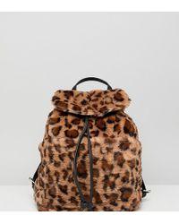 Stradivarius Leopard Faux Fur Backpack - Brown