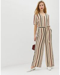 c132b971bac SELECTED - Femme Stripe Jumpsuit With Wide Leg - Lyst