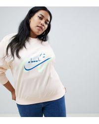 4654e84c84d Nike - Plus Archive Peach Scribble Logo Sweatshirt - Lyst