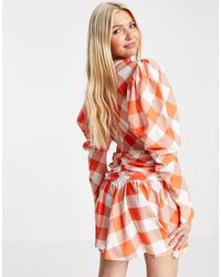 John Zack Exclusive Plunge Front Volume Sleeve Mini Skater Dress - Orange