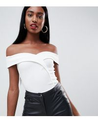 Missguided - Bardot Wrap Over Body In White - Lyst