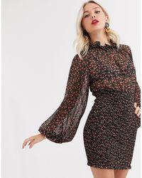 C/meo Collective Longevity Mini Dress With Volume Sleeve - Black