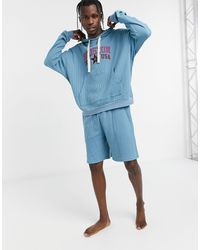 ASOS Lounge Pajama Hoodie And Short Set With City Print - Blue