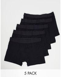 SELECTED 5 Черных Боксеров-брифов -черный Цвет