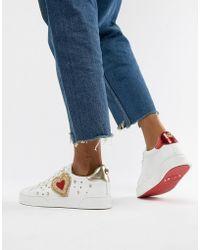 Dune - Elgar White Leather Love Bug Sneakers - Lyst