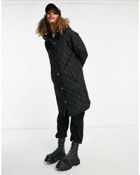 Brave Soul Rusette - Manteau long à capuche matelassé à motif losanges - Noir