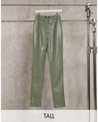 Missguided Co-ord Faux Leather Pants With Side Split Detail - Green