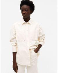 Monki Белая Вельветовая Рубашка Conny-li-белый