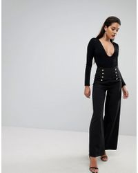 Flounce London Wide Leg Tailored Trouser With Gold Button Detail - Black