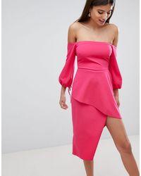 ASOS Vestido midi Bardot con falda cruzada a capas - Rosa
