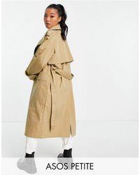 ASOS ASOS DESIGN Petite - Trench-coat luxueux avec col - Taupe - Marron