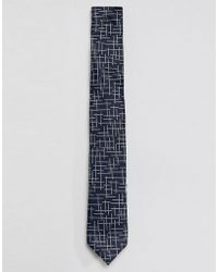 SELECTED - Navy Tie With Grid Details - Lyst