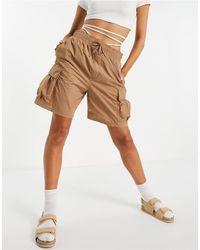 Weekday Nael Nylon Cargo Shorts - Natural