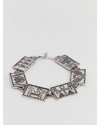 ASOS - Design Egyptian Style Chain Bracelet In Burnished Silver - Lyst