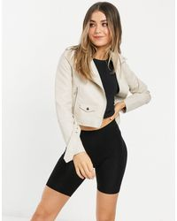 Pull&Bear Faux Leather Cropped Biker Jacket - White