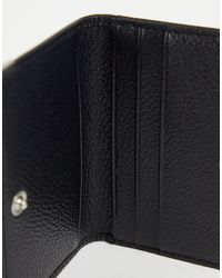 ASOS Leather Foldover Card Holder With Metal Edges - Black