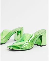 Bershka Зеленые Мюли На Каблуке С Прозрачными Ремешками -зеленый