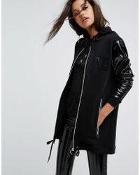 Versace Jeans - Oversize Hoodie With Paten Sleeve - Lyst