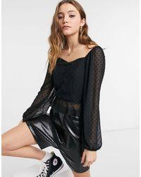 New Look - Черная Шифоновая Блузка Из Ткани Добби С Квадратным Вырезом -черный Цвет - Lyst