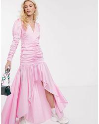 Notes Du Nord Oister Puff Shoulder Hanky Hem Maxi Dress - Pink