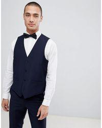 French Connection Slim Fit Peak Collar Tuxedo Waistcoat - Blue