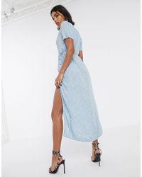 Motel Платье Миди С Высоким Разрезом И Мелким Цветочным Принтом -синий