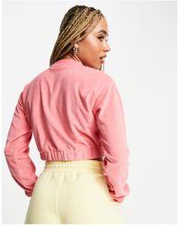 Fila Towelling Half Zip Cropped Sweat - Pink
