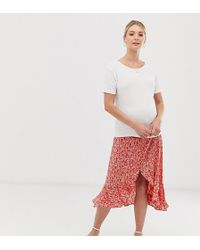 New Look Side Button Ruffle Midi Skirt In Red Floral Pattern