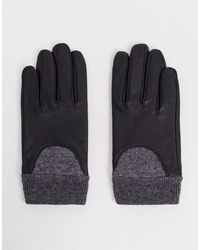 ASOS Leather Gloves With Touch Screen And Rib Cuff - Black