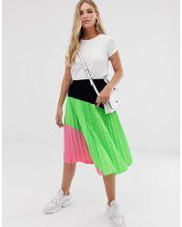 3db39bf55 Liquorish - Pleated Midi Skirt In Neon Colourblock - Lyst