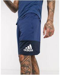 adidas Originals Adidas Training Block Logo Shorts - Blue