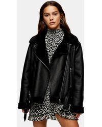 TOPSHOP Petite Faux-leather Biker Jacket - Black