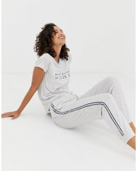 DKNY Logo And Stripe Detail T-shirt And jogger Pyjama Set In Grey Marl - Gray