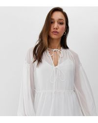 ASOS Asos Design Tall Sheer Smock Top With Tie Front - White