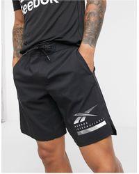 Reebok Черные Шорты Со Светоотражающим Логотипом Training-черный