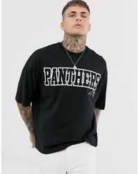 ASOS Nfl Panther Oversized T-shirt With Front And Back Print - Black