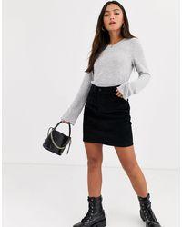 Pieces Mini-jupe en velours côtelé - Noir