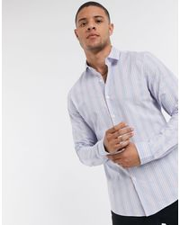 ASOS – Bunt gestreiftes Hemd - Blau