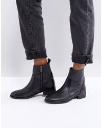 Office - Ashleigh Black Leather Flat Ankle Boots - Lyst