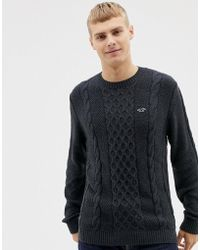 Hollister Icon Logo Cable Knit Sweater - Black