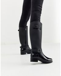 Glamorous Gumboots With Buckle Detail - Black
